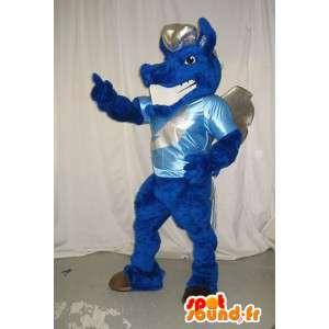 Mascot que representa un dragón azul, traje de la fantasía