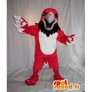 Mascot wat neerkomt op een rode adelaar, vogel kostuum