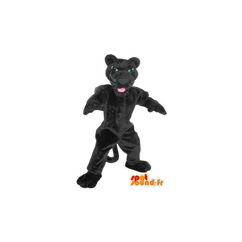 Mascot wat neerkomt op een zwarte panter, panter kostuum - MASFR002034 - Tiger Mascottes