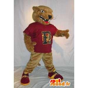 Mascot representa una rata marrón traje de mamíferos