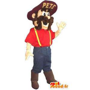 Granjero americano traje de la mascota agricultor