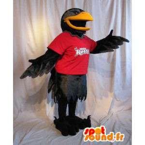 Mascot que representa un cuervo negro, traje de aves