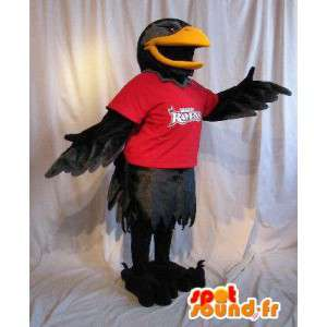 Mascot representing a raven black bird costume