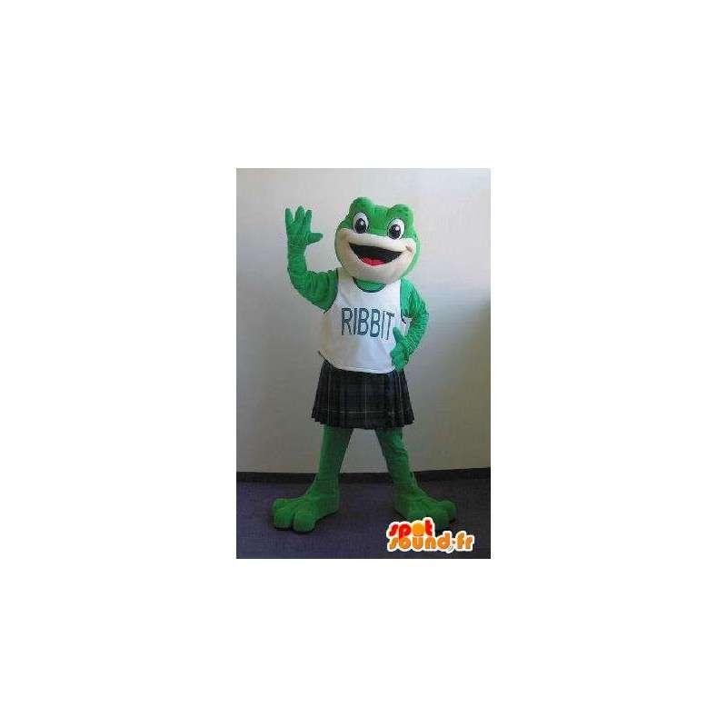 Mascot wat neerkomt op een kikker in een kilt, Schotse kostuum - MASFR002044 - Kikker Mascot