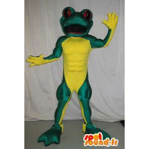 Mascot frog muscular, athletic disguise