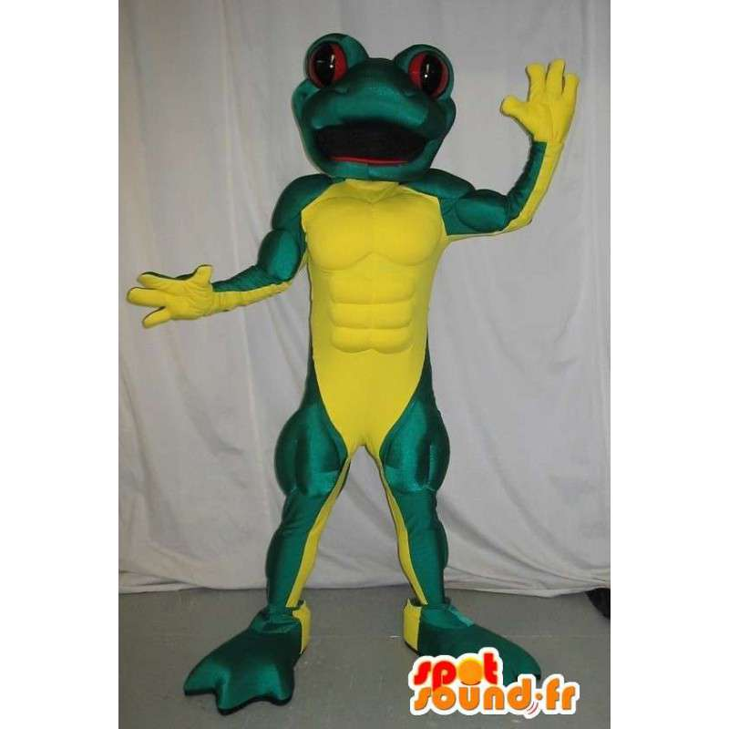 Mascot frog muscular, athletic disguise - MASFR002049 - Mascots frog