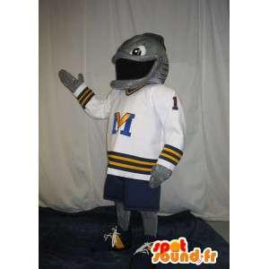Mascot representing a fish-American footballer