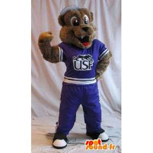 Dog mascot in sports outfit, fitness disguise