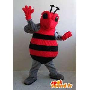 Inseto traje vermelho e preto vôo, disfarce animais - MASFR002054 - mascotes Insect