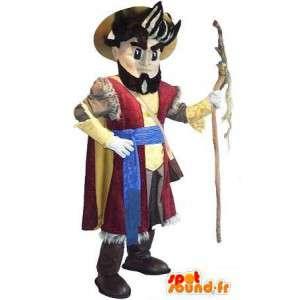 Mascot que representa a un peregrino traje de peregrino,