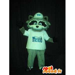 Mascot wat neerkomt op een grijze vos, hoektand kostuum