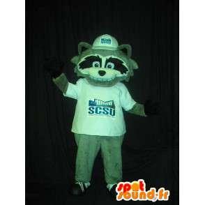 Mascot wat neerkomt op een grijze vos, hoektand kostuum - MASFR002064 - Fox Mascottes