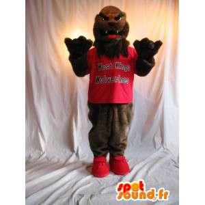 Mascote do lobo em teeshirt vermelho, carrega o traje - MASFR002069 - lobo Mascotes