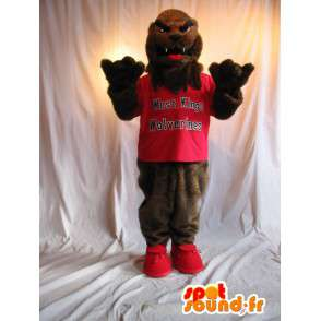 Vlk Mascot v červeném teeshirt nesou kostým - MASFR002069 - vlk Maskoti