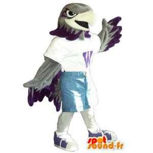 Maskot, der repræsenterer en sportsørn, sports forklædning -