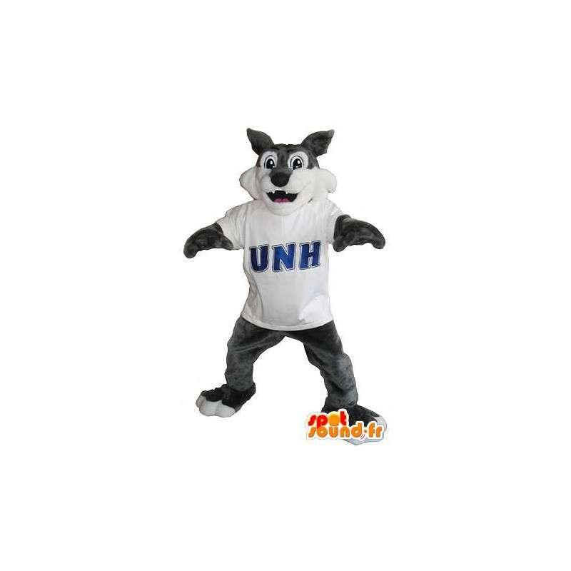 Mascot wat neerkomt op een gelukkige wolf, bos vermomming - MASFR002070 - Wolf Mascottes