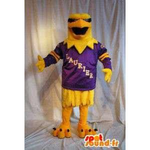 Mascot wat neerkomt op een gele adelaar, vogel kostuum