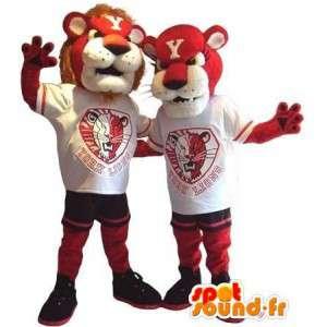 ライオンと雌ライオンのマスコットデュオ、カップルのコスチューム-masfr002073-ライオンのマスコット