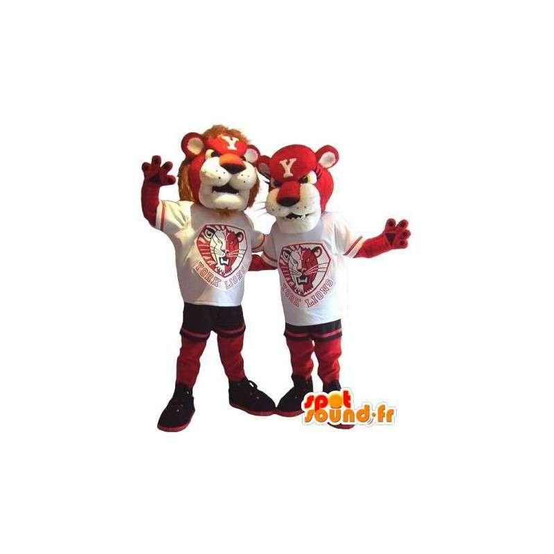 Duo Lew i lwica maskotka kostium dla par - MASFR002073 - Lion Maskotki