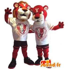 Duo Löwe und Löwin Maskottchen-Kostüm für Paare - MASFR002073 - Löwen-Maskottchen