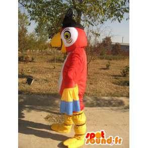 Mascotte Aigle Rouge & Jaune avec chapeau pirate - Costume soirée - MASFR00171 - Mascotte d'oiseaux
