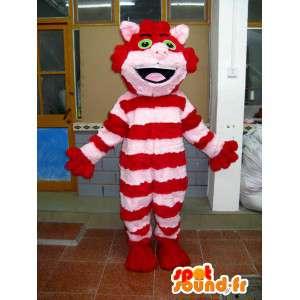 Mascotte en peluche de chat rayé rouge et rose en coton doux
