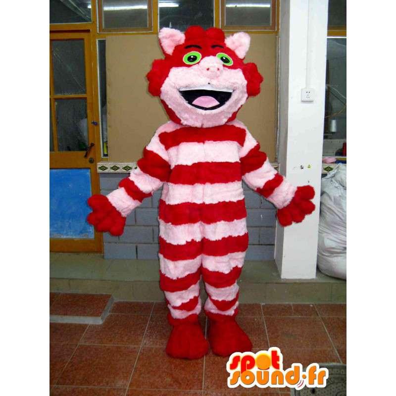 Γάτα πλούσσα μασκότ ριγέ κόκκινο και ροζ απαλό βαμβάκι - MASFR00712 - Γάτα Μασκότ