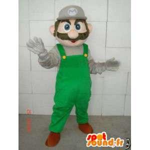 Mario Green Mascot - Mascot Polystyreeni varusteineen