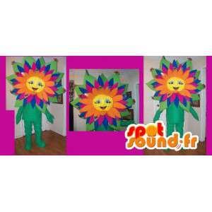 Mascot wat neerkomt op een veelkleurige bloem, de lente vermomming