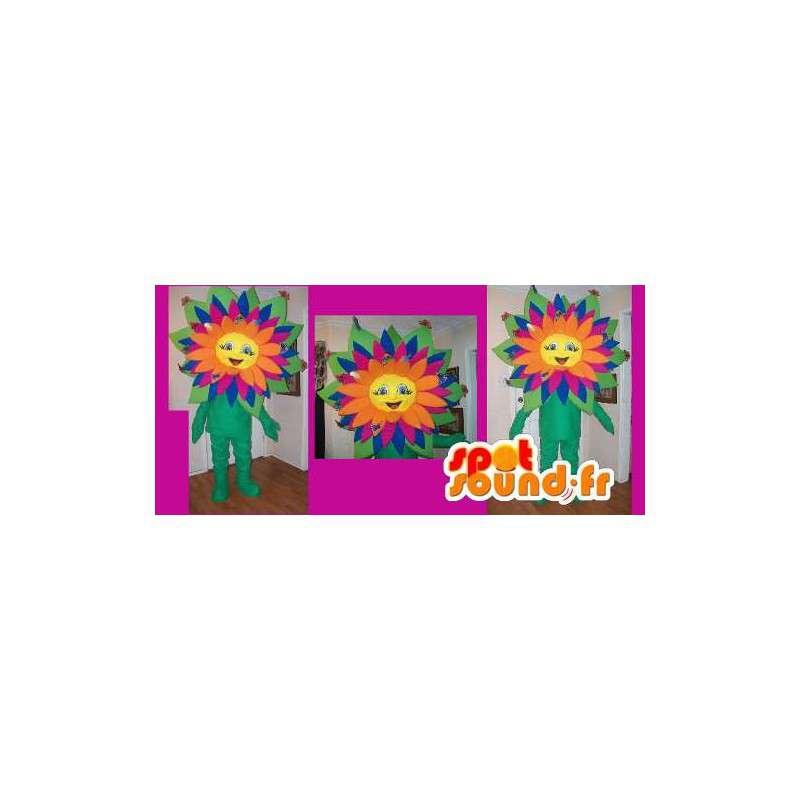 Mascot representerer en flerfarget blomst, våren forkledning - MASFR002194 - Maskoter planter