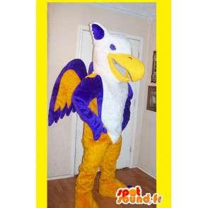 Mascot wat neerkomt op een phoenix veelkleurige vuur vermomming - MASFR002195 - uitgestorven dieren Mascottes