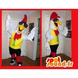 Gallo-mascota como rockero disfraz estrella