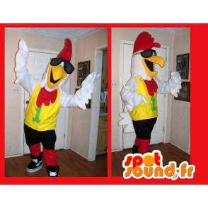 Kogut maskotka, która wygląda jak gwiazda rocka, gwiazda przebraniu - MASFR002198 - Mascot Kury - Koguty - Kurczaki