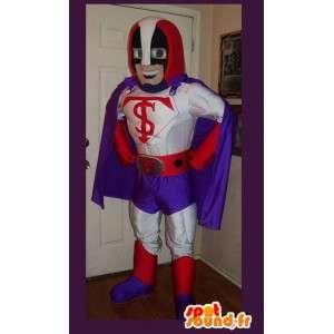Mascot die einen Superhelden-Kostüm mit Umhang
