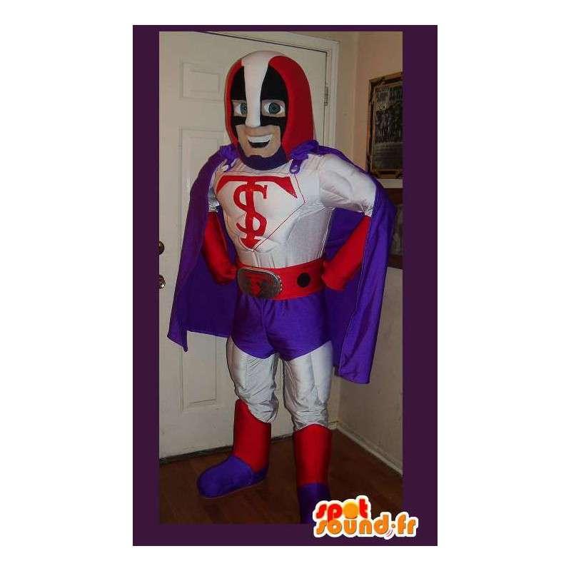 Maskot som representerar en superhjälte, förklädd med udde -