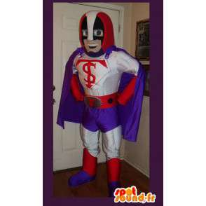 Mascot die einen Superhelden-Kostüm mit Umhang - MASFR002199 - Superhelden-Maskottchen