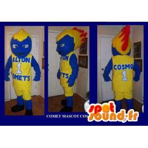 Mascot figuur met vurig haar, basketbal vermomming