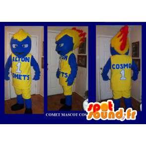Mascot figur med flammende hår, basketball forkledning - MASFR002205 - sport maskot