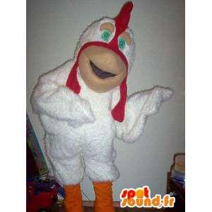 Mascot wat neerkomt op een vriendelijke kippenboerderij vermomming