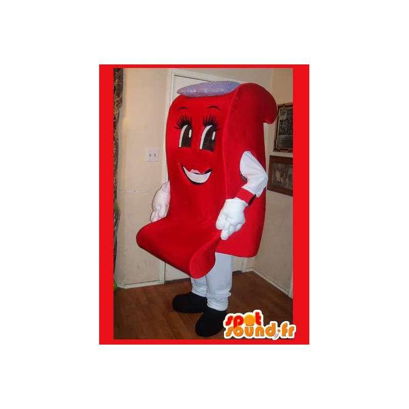 Mascot wat neerkomt op een ontwerp fauteuil, meubilair vermomming - MASFR002209 - mascottes objecten