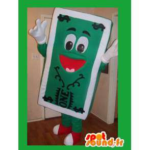 Mascot representing a banknote, dollar disguise - MASFR002210 - Mascots of objects