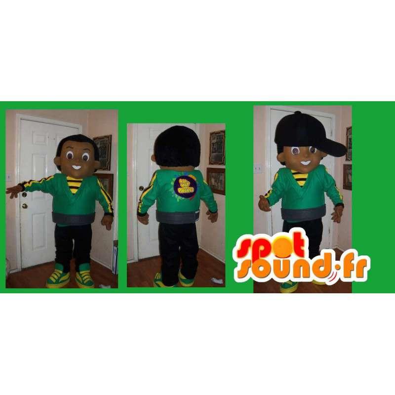 Mascot av en tenåring å se hip hop drakt Jamaica - MASFR002213 - Maskoter gutter og jenter