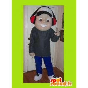 Mascot av en ung musikk fan, tenåring forkledning