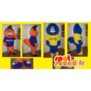 Duo tegn Mascot rundt hode og hår ball - MASFR002215 - Ikke-klassifiserte Mascots
