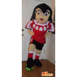 Mascote menina segurando futebol futebolista disfarce