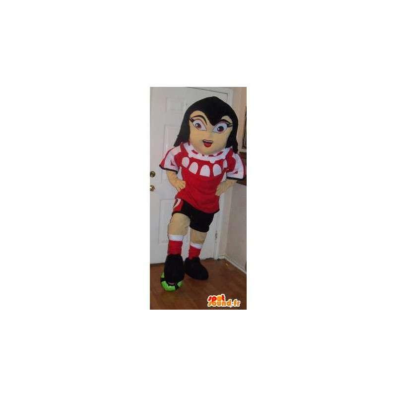 Mascot girl holding football, footballer disguise - MASFR002218 - Sports mascot