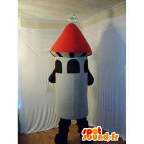 Mascot wat neerkomt op een vuurwerk raket - MASFR002219 - mascottes objecten