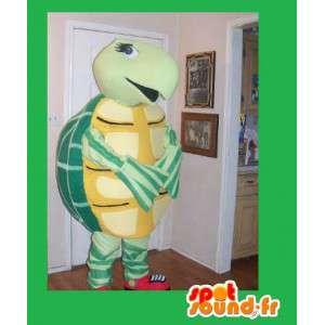 Gul og grøn skildpaddekostume, kostume til dyrebutik -