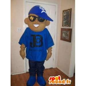 Jonge mascotte gekleed als een rapper, hiphop kostuum