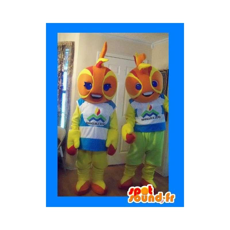 Paar mascottes vertegenwoordigen wezens round heads - MASFR002227 - uitgestorven dieren Mascottes